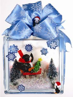 Nicole™ Crafts Penguin Diorama Glass Block #glassblock #craft #christmas