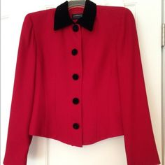 Vintage Liz Claiborne Dressy Jacket Red lightweight polyester jacket with velveteen collar and buttons.  Tailored look but comfy and like new. Liz Claiborne Jackets & Coats
