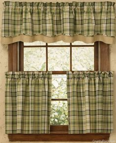 Oak Grove Lined Layered Curtain Valances like this with burlap panels pulled back