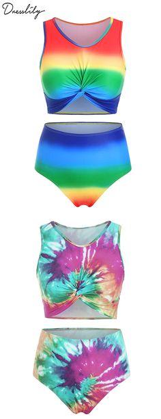 #dresslily #swimwear #swimsuit #tankini Swimsuits For Teens, Modest Swimsuits, Bandeau Tankini, Neck Pattern, Bra Styles, Scoop Neck, Tie Dye, Cute Outfits, Swimwear