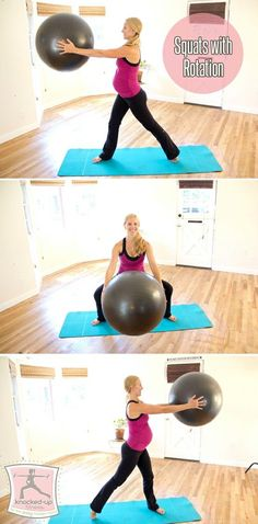 Prenatal & Postnatal Exercise: Squats with Rotation. After Baby & Prenatal Fitness #KnockedUpFitness