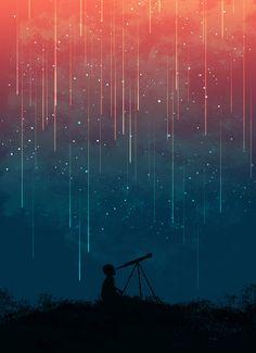 Meteor rain Art Print by Picomodi
