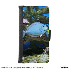 Sea Blue Fish Wallet Case for Samsung Galaxy S4, S5 or S6