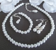 Wedding Bridal Jewelry Set, Three Piece Jewelry Set,Pearl Necklace Bracelet And Earrings Set,White Pearls,Ivory Pearl Bridesmaid Jewelry Set by Uniquebeadables on Etsy