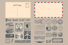 Passport & Postage Stamps and Badges by Seyyahil on Creative Market