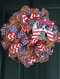 American Flag Summer Wreath Patriotic Military 4th of by RandBmade