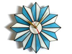 Mid Century Modern Wall Clock Turquoise Blue White - Unique Stained Glass Starburst Atomic Midcentury Wall Art - Geometric Hanging Decor