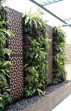 Vetical Gardens A vertical garden can be created cheaply with garden netting as well as a few of your favorite climbing plants. DIY Projects - Develop a Do It Yourself Outdoor Living Wall Vertical Garden Planter Garden Wall Designs, Vertical Garden Design, Backyard Garden Design, Backyard Patio, Vertical Planter, House Fence Design, Patio Design, Tropical Backyard, Backyard Designs