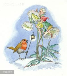 Elves sitting on a flower with a robin - Illustration by Molly Brett.