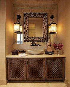 Cher Hollywood Penthouse Detail Of The Powder Room Sink With A Porcupine Quill Mirror Antique Indian Marble And An Century Tibetan Accessories