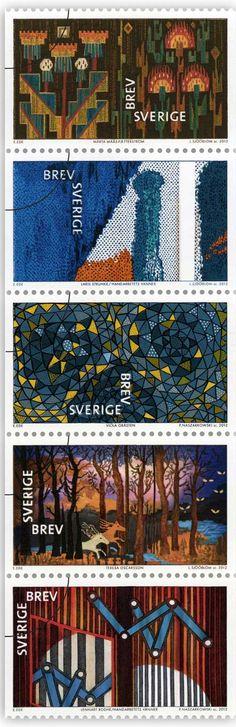 "Stamps from ""Textilkonst"" with Swedish textile works from 1928 to 2006 by Märta Måås-Fjetterström, Laris Strunke, Viola Gråsten (pattern Oomph), Teresa Oscarsson and Lennart Rodhe."