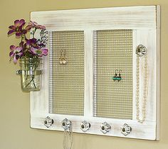 Mason Jar Jewelry Organizer Necklace and Earring Holder Wall Rack
