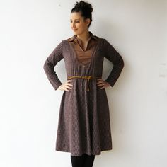 Vintage Brown Dress / 70s Striped Dress / Size L by rakshniyavintage on Etsy