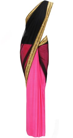 Pink and Black Saree with Gold border