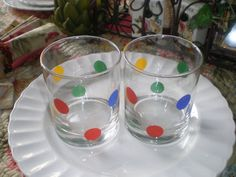 Two Vintage Barware Cocktail Glasses with Red by NeldaMaesCloset, $8.50