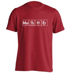 New to FloxCreative on Etsy: Mother T Shirt funny slogan maths science periodic table grey black red white mother's day nerd dork sci fi Tshirt XS - 3XL 23 (12.95 GBP)