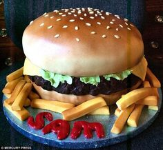 One of her recent creations, a 'burger cake'. Molly says cake artistry was 'just something I fell into - I never learnt the art of cake decoration, though; I just taught myself as I went along'