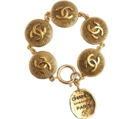 Chanel Vintage Chanel Paris logo coin bracelet ($1,590) ❤ liked on Polyvore