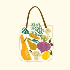 Vector illustration of fruits and vegetables in a bag. - St , - Vector illustration of fruits and vegetables in a bag. Vegetable Illustration, Fruit Illustration, Free Vector Illustration, Food Illustrations, Graphic Design Illustration, Food Graphic Design, Food Patterns, Food Wallpaper, Healthy Food