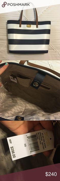 """Michael Kors Jet Set Travel Tote NWT. Brand new. Never carried. Originally $298 + tax! This is a sold out style!  Features: Composed of luxe Saffiano leather with signature detailing The interior stows essentials for any getaway. Striped exterior; logo plaque; gold-tone hardware Duel top handles, 9.5"""" Drop Tab snap closure. Interior features zip pocket, slip pocket and key fob 14"""" Bottom/18"""" Top W x 12"""" H x 4"""" D LESS ON Ⓜ️ Michael Kors Bags Totes"""