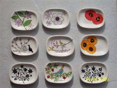 Hand painted small ceramic soap dishes. Janet Mimi Shiri Eddi. Cape Town. info@medesign.co.za