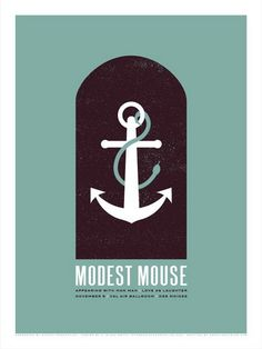 Modest Mouse Concert Poster. Nov 9, 2007 with Man Man & Love as Laughter at Val Air Ballroom- Des Moines. Hand made silkscreen print on nice heavy paper. Artist: Micah Smith