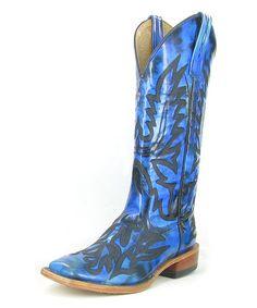Look at this #zulilyfind! Navy Twisted Sister Leather Cowboy Boot - Men #zulilyfinds