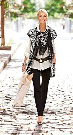 Black is to white as bread is to butter - Zebra print Maggie Vest with Exploded Houndstooth Scarf & Jeggings