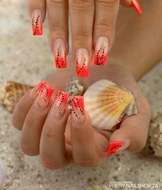 #neon #naildesign #nailart #glow #orange #summer
