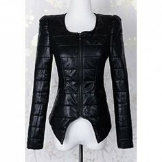 $26.98 Long Sleeves Solid Color Irregular PU Leather Noble Style Jacket For Women