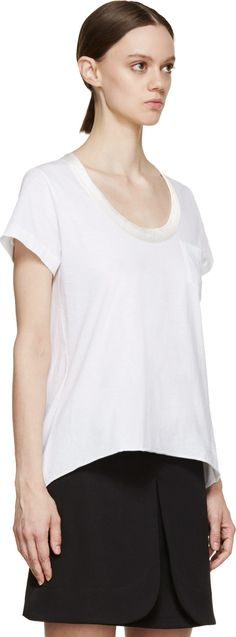 Sacai Luck: White Satin Collar T-Shirt | SSENSE