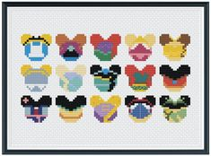 THIS IS A PATTERN - NOT FINISHED PRODUCT!  A Stitch of Magic Disney Princess Collection Stitch Pattern PDF  Squad Goals!!!  #astitchofmagic  Skill level: Beginner Suggested Fabric: 14 ct. aida Finished Design Size on 14 ct. aida: 7w x 5h Grid Size: 98w x 70h Individual Mouse Ear Size: approx 1.5w x Easy Cross Stitch Patterns, Simple Cross Stitch, Cross Stitch Designs, Perler Beads, Perler Bead Art, Stich Disney, Stitch Head, Perler Patterns, Bead Patterns