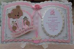 Bookatrix personalised girls 1st birthday card +box+free plastic stand | eBay