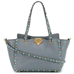 Valentino Garavani 'Rockstud Rolling' trapeze tote ($3,095) ❤ liked on Polyvore featuring bags, handbags, tote bags, grey, grey tote bag, hand bags, man bag, leather purses and leather handbags