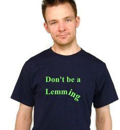 Humorous Unisex T-Shirt/ Lemming Humor/ Screenprint/ Navy Blue/ Lime Ink - pinned by pin4etsy.com