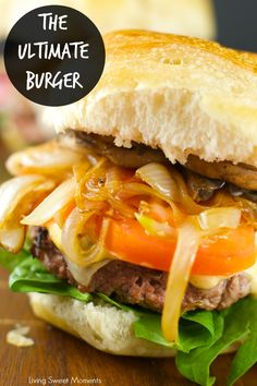 Burger With Caramelized Onions And Mushrooms: Juicy beef burgers w/ homemade sauce topped with saut?ed mushrooms and caramelized onions. Perfect for dinner! How To Cook Burgers, Beef Burgers, Gourmet Burgers, Veggie Burgers, Cookbook Recipes, Cooking Recipes, Healthy Recipes, Delicious Recipes, Easy Recipes