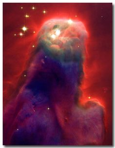 The Jesus Nebula - Hubble Space Telescope - New cameras in the Hubble Space Telescope image a likeness of the face of Jesus. Located in a cluster of nearby stars that astronomers call NGC 2264.