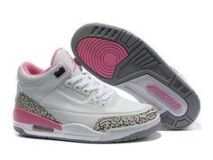 Air Jordan 3 Retro - Basket Jordan Pas Cher Chaussure Pour Femme/Fille Blanc/Pink 398614-141