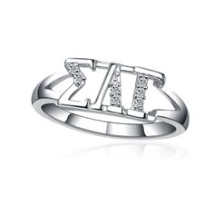 It is made of sterling silver and lab created diamond. It's designed and created exclusively by our company. A beautiful gift box is included Sigma Lambda Gamma, Zeta Phi Beta, Delta Zeta, Oval Rings, Silver Rings, Usa University, Slg, Chi Omega, Lab Created Diamonds