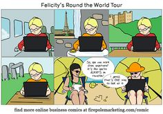 Firepole Funnies #007: Felicity's Round the World Tour #comicstrip #computer #techfunny #entrepreneur