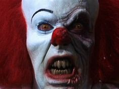 "Stephen Kings IT, Pennywise the Dancing Clown, Tim Currie.  ""Oh yes, they float, Georgie. They float. And when you're down here with me, YOU'LL FLOAT TOO!!!"""