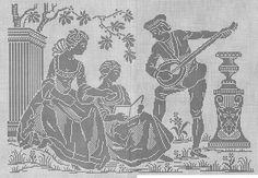 0 point de croix femmes et musicien - cross stitch ladies and a musician