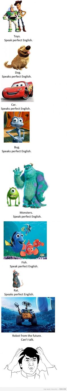 Whoever made this post obviously knows nothing about Pixar. Wall-E happens first, the. The last one of all of them is actually Bugs Life. If only they knew the Pixar secrets. Funny Disney Memes, Disney Jokes, Disney Facts, Stupid Funny Memes, Funny Relatable Memes, Funny Stuff, Funny Fails, Disney Cartoons, Random Stuff