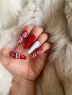 Red Chrome Nails, Red Gel Nails, Colored Acrylic Nails, Best Acrylic Nails, Bandana Nails, Red Bandana, Red Bottom Nails, Checkered Nails, Dragon Nails