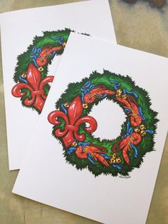 65 best new orleans christmas cards images on pinterest greeting fleurty girl everything new orleans crawfish wreath holiday notecard pack of 12 m4hsunfo