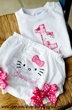 Hello Kitty first birthday- Onesie and bloomer- by babygiggles by BabygigglesCo on Etsy https://www.etsy.com/listing/101551893/hello-kitty-first-birthday-onesie-and