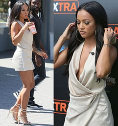 "Karrueche Tran arriving on the set of ""Extra"" at Universal studios in Los Angeles on September 6, 2016"
