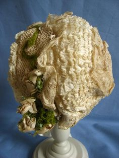 Very early French doll bonnet from fancyandfine on Ruby Lane