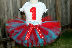 Dr. Suess Thing 1 Thing 2 Tutu 8 inch length and Onesie Shirt Outfit Sizes Newborn 3, 6, 12, 24 months 2T 3T and 4T