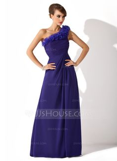 A-Line/Princess One-Shoulder Floor-Length Chiffon Organza Mother of the Bride Dress With Ruffle (008006540)